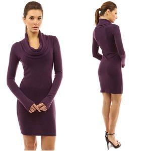 PattyBoutik Cowl Neck Long Sleeve Knit Dress